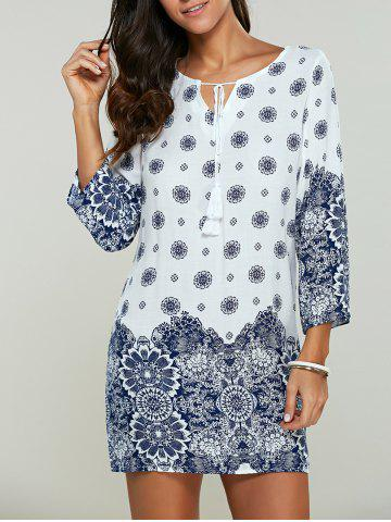 Outfit Casual Tribal Print Bohemian Short Shift Dress - S WHITE Mobile