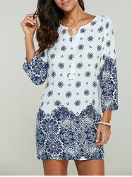 Tribal Print Bohemian Style Short Shift Dress - WHITE