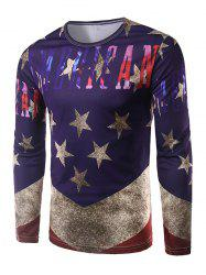 Round Neck Long Sleeves Five-Point Star Print T-Shirt -