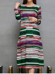 Colorful Striped Double Pockets A-Line Dress