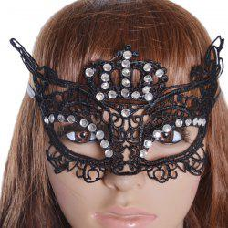 Gothic Style Rhinestone Crown Lace Party Mask