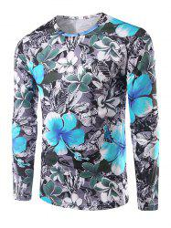Slim Fit Long Sleeves Flowers 3D Print T-Shirt - GRAY 2XL