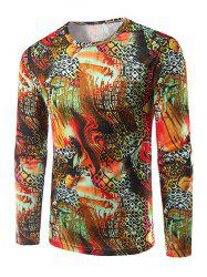 Casual Long Sleeves 3D Pattern Print T-Shirt - COLORMIX 2XL