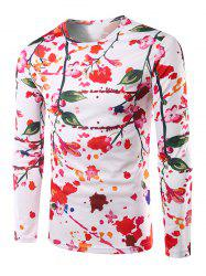Casual Long Sleeves Floral 3D Print T-Shirt - WHITE 2XL
