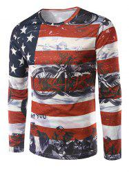 Long Sleeves Flag Pattern 3D Print T-Shirt - COLORMIX