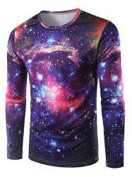 Round Neck 3D Print Galaxy T-Shirt - DEEP PURPLE