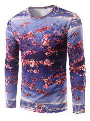 Round Neck Long Sleeve Floral 3D Print T-Shirt