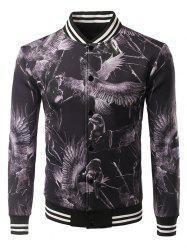 3D Animal Print Varsity Striped Rib Garniture Jacket - Noir XL