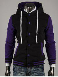 Hooded Color Block Stripe Spliced Varsity Hoodie - PURPLE 2XL