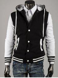 Couleur capuche Bloc Stripe Spliced ​​Varsity Hoodie -