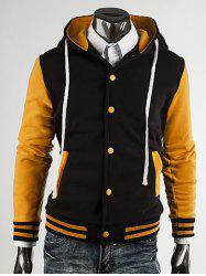 Hooded Color Block Stripe Spliced Varsity Hoodie - YELLOW