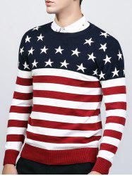 Crew Neck Star and Stripe Splicing Knitting Sweater - RED
