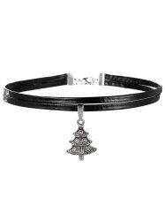 Embossed Christmas Tree Choker Necklace - SILVER