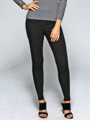 Lace Patchwork Slim Pencil Pants - BLACK