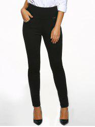 High Waist Cigarette Skinny Pants - BLACK