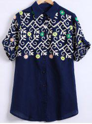 Curled Sleeve Ethnic Embroidered Shirt -