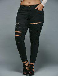 Plus Size Distressed Jeans - BLACK 5XL