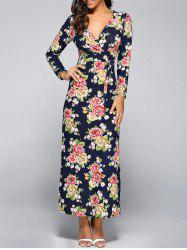 Long Sleeve Plunging Neck Floral Maxi Dress -