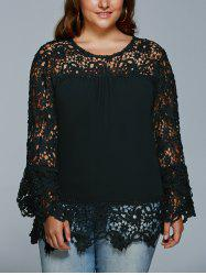 Lace Spliced Hollow Out Plus Size Blouse - BLACK
