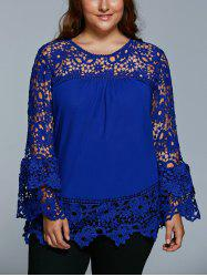 Lace Spliced Hollow Out Plus Size Blouse