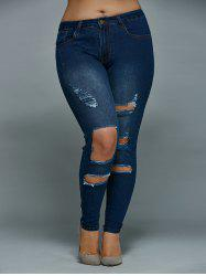 Skinny Plus Size Distressed Jeans - DENIM BLUE