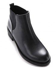 PU Leather Elastic Round Toe Ankle Boots - BLACK