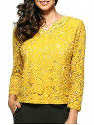 Slim Openwork Floral Lace Blouse -