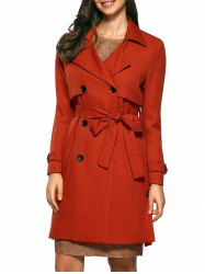 Slim Double-Breasted Tied Belt Trench Coat -