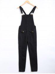 Pocket Design Racerback Overall Pants - BLACK