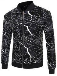 3D Crack Print PU-Leather Stand Collar Zip-Up Jacket -