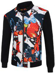 3D Color Block Butterfly Print Stand Collar Zip-Up Jacket -