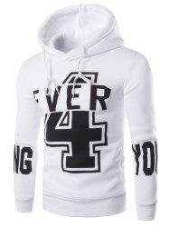 Hooded Numer and Letter Print Long Sleeve Hoodie -