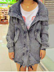 Pocket Design Drawstring Denim Jacket