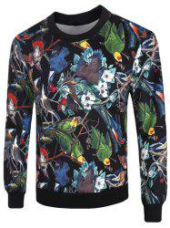 Crew Neck 3D Birds and Florals Print Long Sleeve Sweatshirt