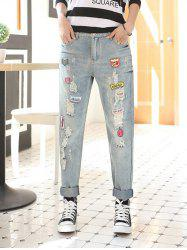 Applique Frayed Denim Pants -
