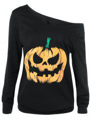 Skew Collar Pumpkin Lamp Print Sweatshirt