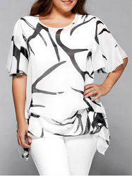 Printed Chiffon Asymmetric Plus Size Blouse - WHITE