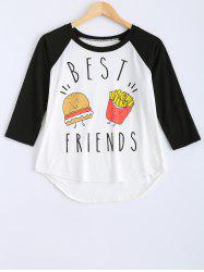 Cartoon Pattern High Low T-Shirt