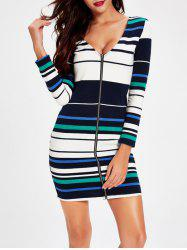 Plunging Neck Zipper Design Striped Dress