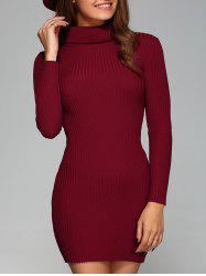Turtle Neck Ribbed Skinny Stretchy Dress -