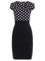 Polka Dot Sheath Pencil Work Dress