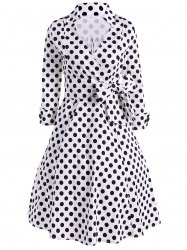 Vintage Polka Dot Tie-Waist Surplice Dress