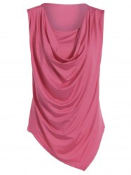 Ruched Asymmetrical Tank Top - ROSE RED 2XL