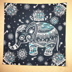 Ethnic Indian Mandala Elephant Pattern Square Scarf - BLACK GREY