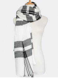 Winter Plaid Pattern Fringed Knit Scarf