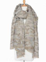 Winter Army Camouflage Pattern Fringed Shawl Scarf -