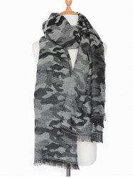 Winter Army Camouflage Pattern Fringed Shawl Scarf