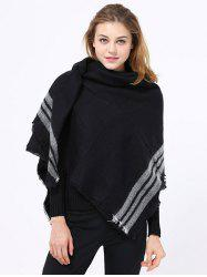 Winter Stripe Pattern Fringed Shawl Wrap Pashmina