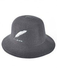 Winter Feather Embroidery Brimmed Knit Bucket Hat