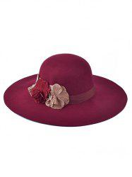 Winter Handmade Flower Felt Floppy Hat - WINE RED